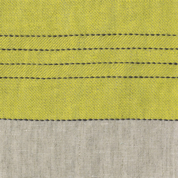 Broad Stripe Top Stitch Linen - Chinese Yellow/Natural