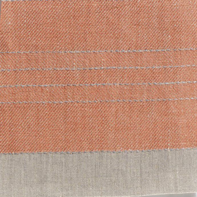 Broad Stripe Top Stitch Linen - Coral/Natural