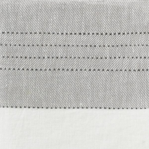 Broad Stripe Top Stitch Linen - Dove Grey