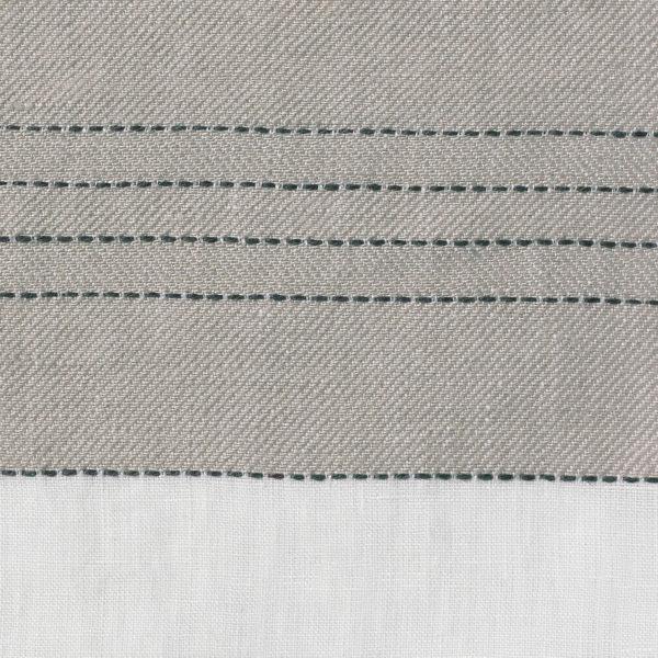 Broad Stripe Top Stitch Linen - Natural