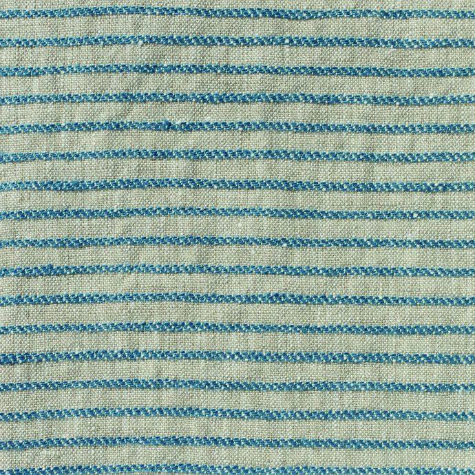 Ticking Stripe Linen - Prussian Blue on Natural