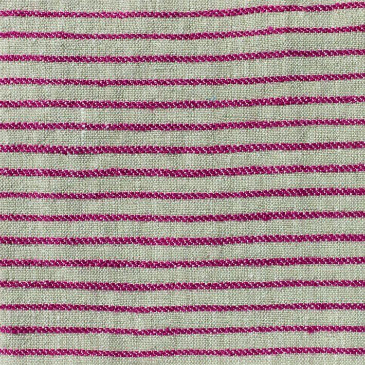 Ticking Stripe Linen - Volga Red on Natural