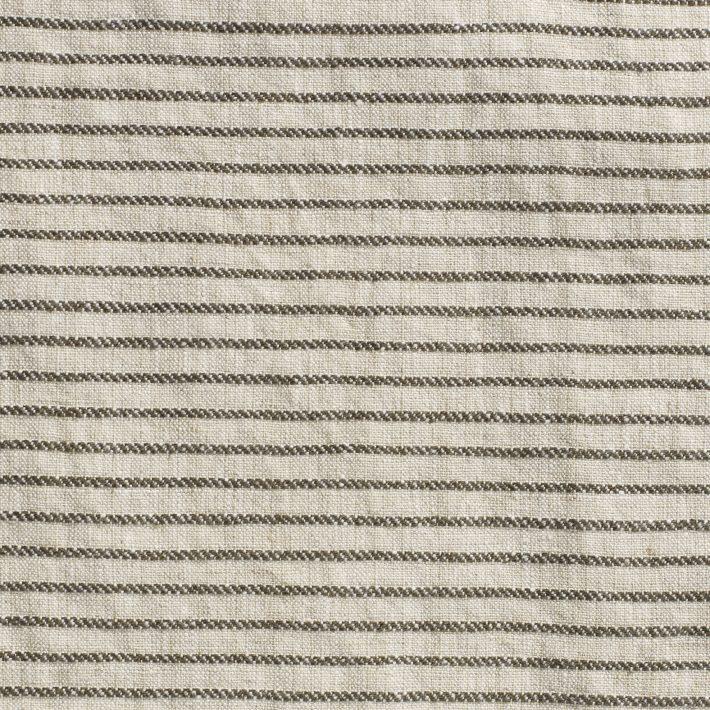 Ticking Stripe Linen - Charcoal/Natural - Volga Linen