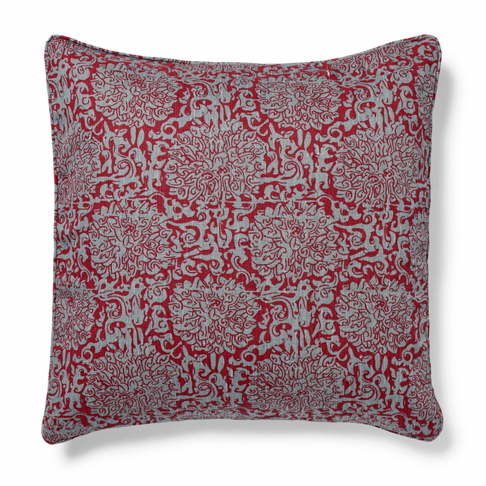 Chrysanthenum Print Red Teal Cushion Cover