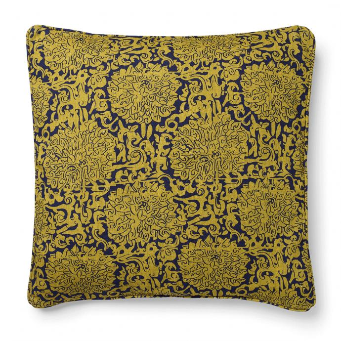 Chrysanthenum Print Yellow Blue Cushion Cover