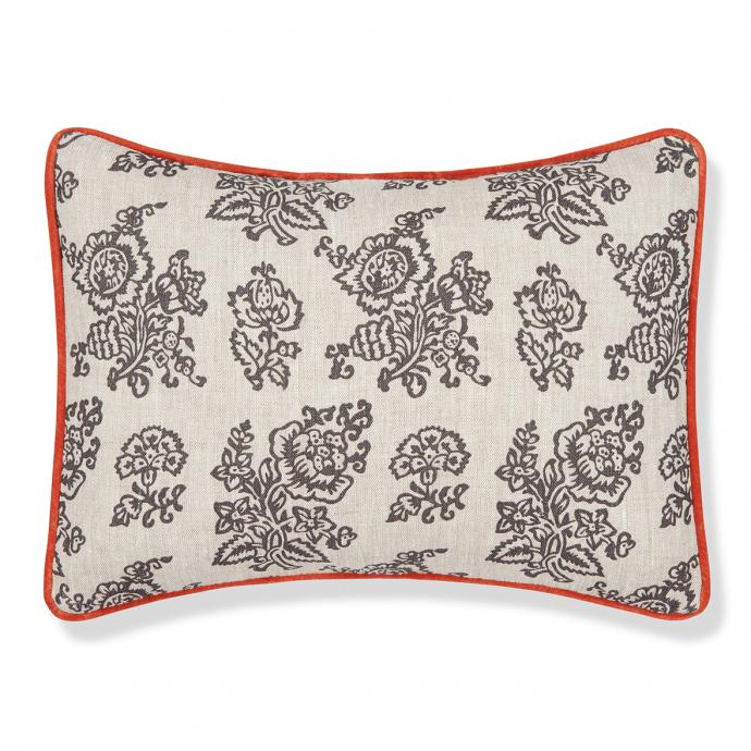 Flora Print Charcoal Velvet Cushion Cover