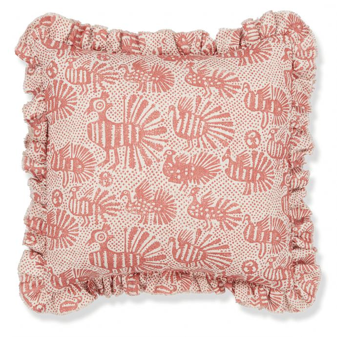 Sirin Print Terracotta Frill Cushion Cover