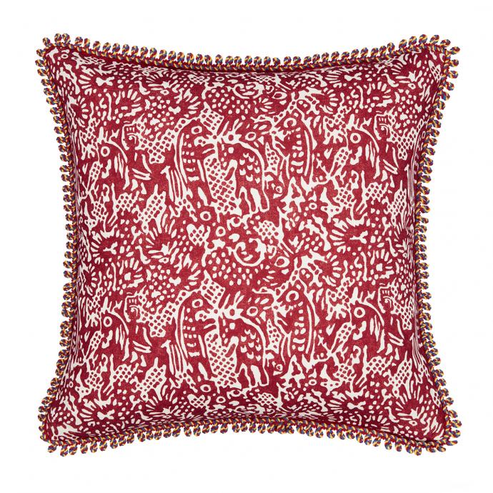 Alyosha Print Red Trim Cushion Cover