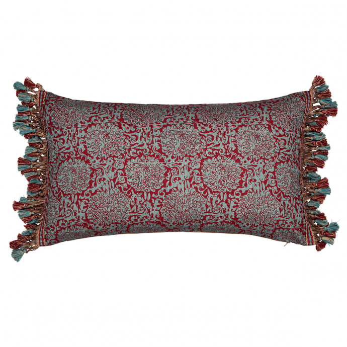 Chrysanthenum Print Red Teal Tassel Cushion Cover