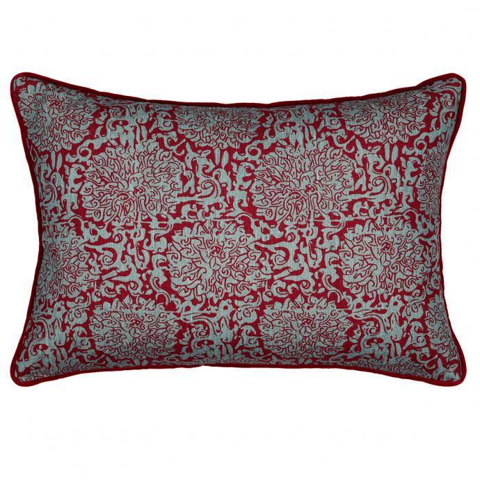 Chrysanthenum Print Red Teal Velvet Cushion Cover
