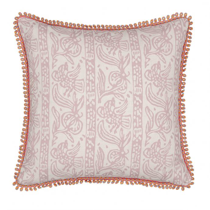 Finist Print Tea Rose Trim Cushion Cover