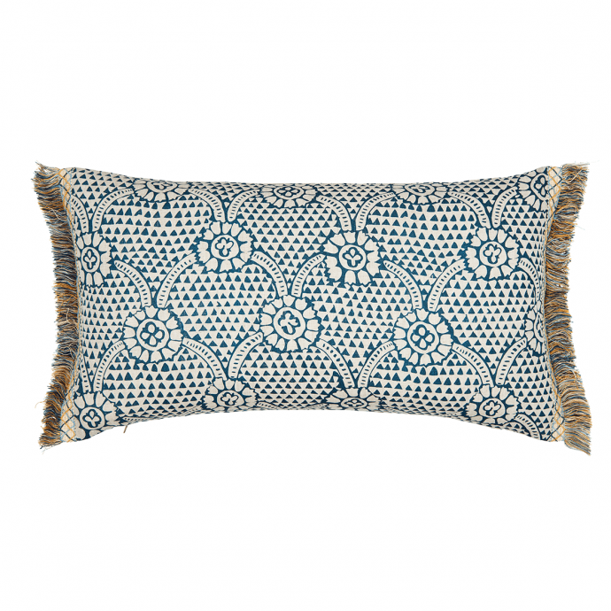 Ivan Print Prussian Blue Tassel Cushion Cover