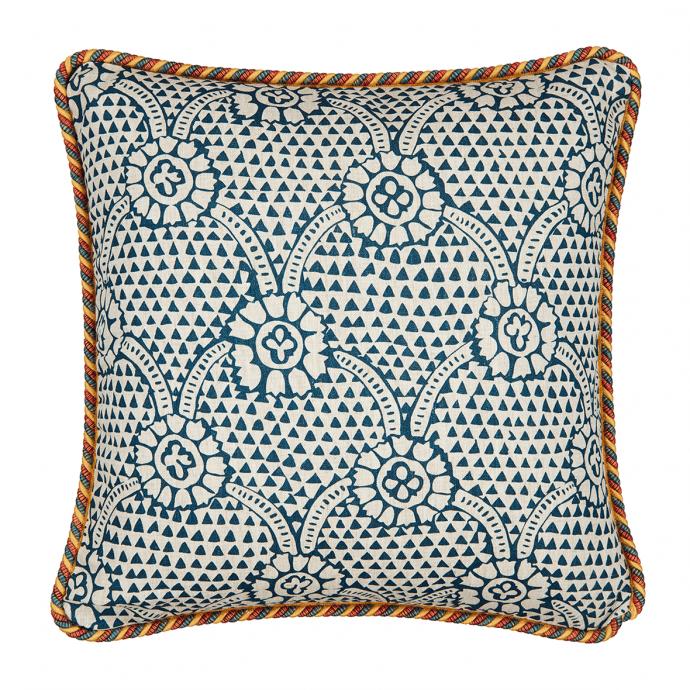 Ivan Print Prussian Blue Trim Cushion Cover