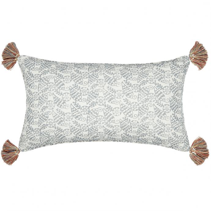 Katya Print Slate Grey Tassel Cushion Cover