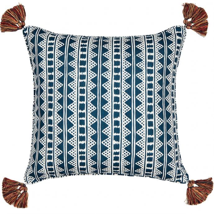 Kitezh Print Prussian Blue Tassel Cushion Cover