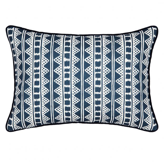 Kitezh Print Prussian Blue Velvet Cushion Cover