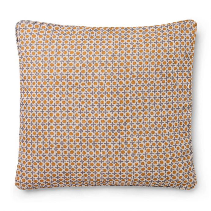 Marusya Print Saffron Cushion Cover