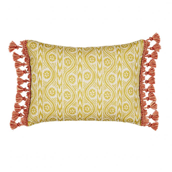 Ruslan Print Moss Green Tassel Cushion Cover
