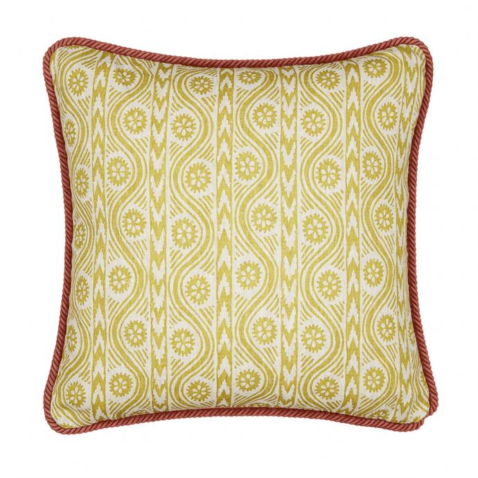 Ruslan Print Moss Green Trim Cushion Cover