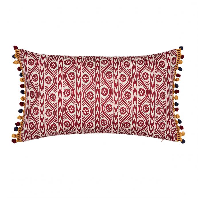 Ruslan Print Red Bobble Cushion Cover