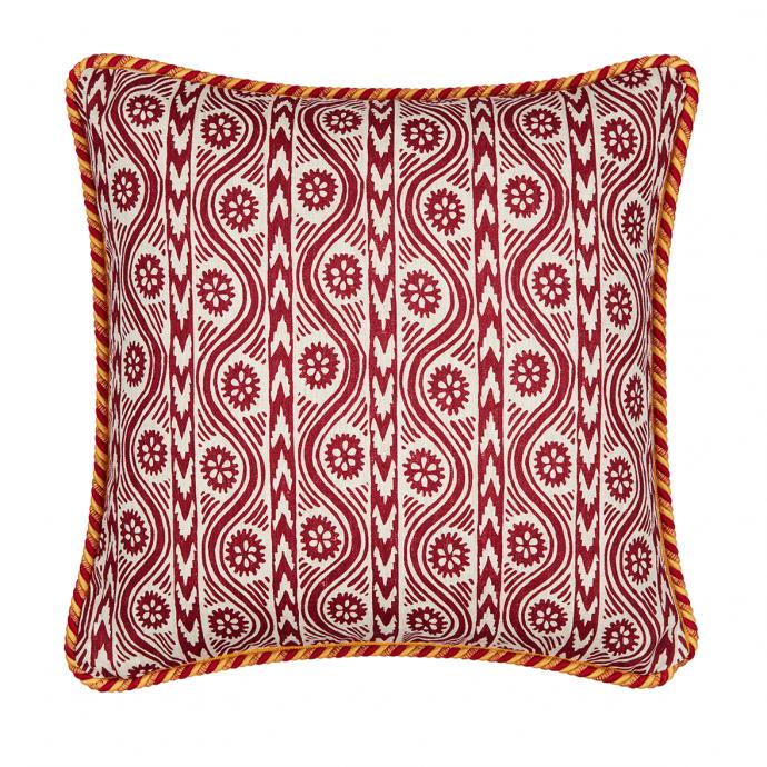 Ruslan Print Red Trim Cushion Cover