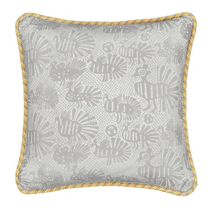 Sirin Print Grey Trim Cushion Cover