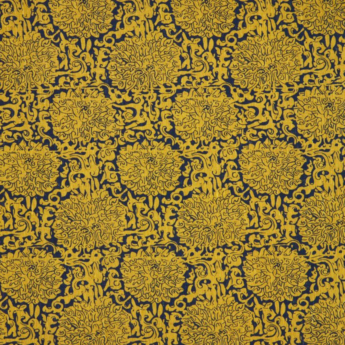 Chrysanthemum, Chinese Yellow & Prussian Blue